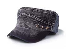 凯维帽业-深蓝牛仔水洗五角星平顶帽定做-JM028
