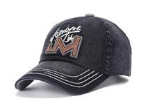 凯维帽业-深蓝牛仔水洗棒球帽定做 -BM070