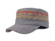 凯维帽业-灰色印花呢子布军帽订做 -JW030