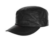 凯维帽业-真皮黑色军帽平顶帽 -JP034