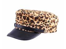 凯维帽业-豹纹皮革拼接时尚军帽 平顶帽定做 -JM037