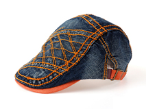 凯维帽业-深蓝牛仔粗线鸭舌帽订做-EM032