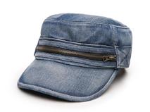 凯维帽业-新款牛仔拉链平顶帽 军帽定做-JM042