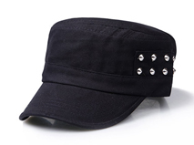 黑白视频体育直播-纯色柳钉平顶帽 军帽定做 -JM044