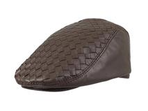 凯维帽业-新款编织PU皮鸭舌帽定做-EP055