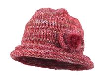 黑白视频体育直播-红色粗毛线针织帽 时装款定做 -ZM038