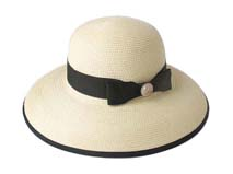 凯维帽业-女士蝴蝶结沙滩草帽-CZ041