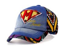 凯维帽业-新款撞色拼接贴布绣印花六页遮阳棒球帽定做-BM073