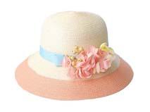 凯维帽业-女士拼色花朵草帽定做-CZ049