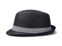 凯维帽业-时尚千鸟格折边拼接遮阳定型草帽定做 -CZ057