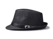 凯维帽业-纯色简约男士皮带遮阳折边草帽定做-CZ063