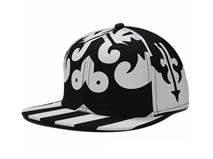 凯维帽业-设计款黑白抽象印花平板嘻哈街舞棒球帽定做-PT060