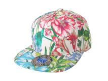 凯维帽业-新款盛开花朵印花时装嘻哈平沿五页棒球帽定做-PM071