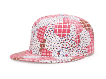 凯维帽业-2015新款女士混色碎花格子嘻哈街舞平沿帽定做 -PM073