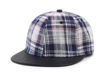 凯维帽业-时尚格子撞色拼接平沿街舞棒球帽 男女款定做-PM074