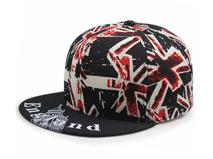 凯维帽业-新款米字旗印花撞色拼接平沿街舞嘻哈鸭舌帽定做 -PM076