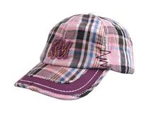 凯维帽业-时尚潮流格子洗水做旧贴布绣花棒球帽 春夏定制-BM078