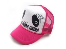 凯维帽业-儿童 女士可爱卡通眼睛印花字母透气棒球网帽 五页帽订做-BM081