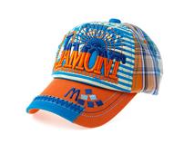 凯维帽业-新款韩版3D绣时尚格子条纹混搭棒球帽 儿童 成人订做 -BM092
