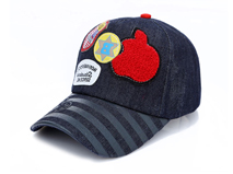 凯维帽业-韩版时尚潮流毛巾绣花印花条纹棒球帽订做 儿童 成人 -BM100