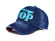 黑白视频体育直播-小清新款牛仔做旧贴布绣花字母棒球帽定制 儿童 成人-BM101