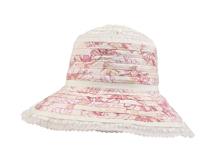 凯维帽业-女士条纹印花蕾丝花边大檐遮阳帽广州加工订制 春夏-YM103