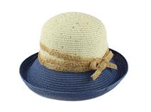 凯维帽业-撞色拼接丝带蝴蝶结翻边草帽定做定制 女士 春夏帽子 -CZ078