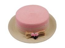 凯维帽业-韩版装饰花拼色定型草帽 工厂专业定做订制 春夏 女士 -CZ089