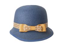 凯维帽业-新款女士时尚潮流蓝色蝴蝶结定型草帽外贸出口定做 -CZ091