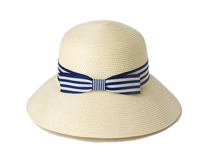 凯维帽业-蓝白条纹蝴蝶结夏季女士户外沙滩遮阳纸草草帽定制-CZ094