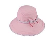黑白视频体育直播-粉色小清新款碎花包边蝴蝶结桶帽 盆帽 OEM订做-YM120