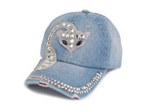 黑白视频体育直播-女士洗水做旧镶钻猫咪时装牛仔棒球帽加工订做定制 -BM116