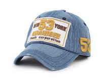 凯维帽业-洗水做旧贴布绣牛仔棒球帽订制定做 女士 六页鸭舌帽 -BM126
