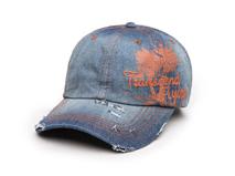 凯维帽业-新款洗水做旧印花绣花六页牛仔鸭舌帽 夏季遮阳棒球帽-BM133