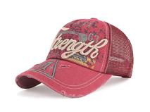 凯维帽业-洗水做旧3D绣花字母LOGO夏季网布透气棒球帽 印花 -BM142