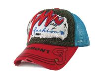 凯维帽业-韩版新款麻棉贴布绣花网布透气夏季棒球帽 洗水做旧 -BM145