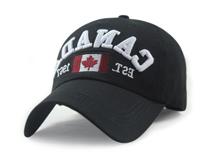 黑白视频体育直播-加拿大国旗字母绣花LOGO超弯帽额六页棒球帽 黑色-BM146