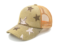 凯维帽业-2015春夏新款炫彩星星网布透气五页棒球网帽 鸭舌帽 -BM153