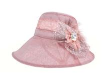 凯维帽业-夏季女士粉红纱布装饰花新款遮阳渔夫帽OEM出口加工-YM128
