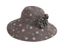 凯维帽业-夏季女士装饰花纯色点点大边遮阳渔夫边帽 广州帽子工厂-YM129