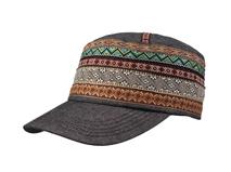 凯维帽业-民族风拼色条纹女士平顶军帽工厂加工订制 女士 春夏-JM045