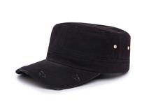 凯维帽业-洗水做旧纯色简约平顶军帽 鸭舌帽专业生产订制定做-JM046