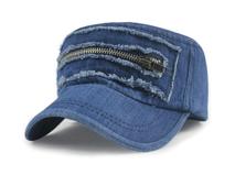 凯维帽业-洗水做旧拉链牛仔平顶军帽 鸭舌帽外贸ODM订做加工 -JM055