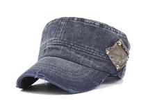 凯维帽业-复古洗水做旧牛仔平顶军帽订制定做 男女款 广州帽厂 -JM058