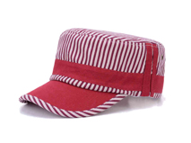 凯维帽业-海军条纹时装平顶军帽订制加工 夏季时装遮阳帽 -JM060