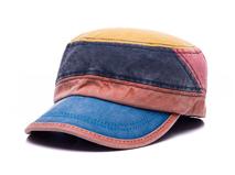 凯维帽业-洗水做旧新款撞色拼接时装平顶军帽ODM贴牌加工 新款-JM061