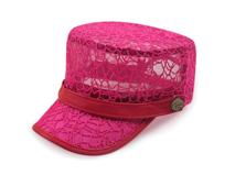 凯维帽业-2015夏季女士纯色透气时装平顶军帽工厂加工生产-JT056