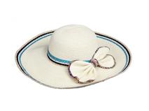 凯维帽业-2015新款超大边拼色夏季沙滩遮阳草帽 蝴蝶结 女士-CZ111