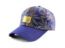 凯维帽业-蓝色高端树叶印花男女款韩版时装六页棒球鸭舌帽加工-BM164