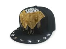 凯维帽业-2015新款韩版时尚柳丁链条嘻哈街舞平板帽外贸定做 -PJ098